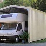 Abri Camping-Car Bi-Pente 4mx8m, Couleur Ivoire Clair, Bardage Ossature et Couverture