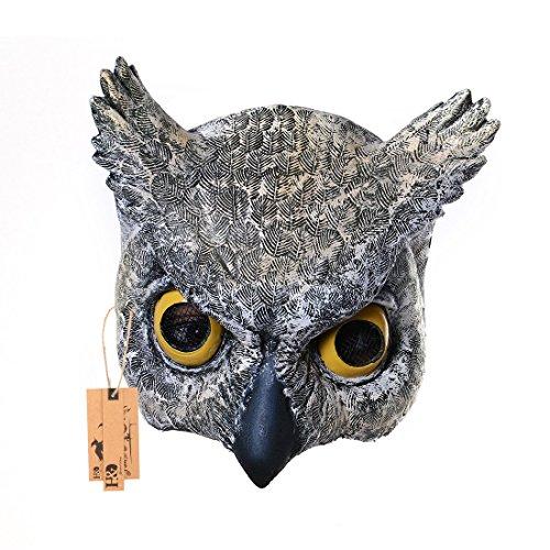 hyalinität & Dora Eule Half Face Masken für Erwachsene, Animal Latex Maske für Halloween Masquerade Cosplay