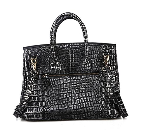 Stilvolle Lederhandtaschen Leder Krokodil Muster Damen Laptop Schulter Umhängetasche Bronze