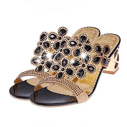 TIFIY High Heels für Frauen, Work Utility Schuhe geschlossene Zehe Plattform Sparkly römische Sandalen Party Club Office Court Schuhe, Sommer Flip Flops Fat Girls Strass Schuhe(Schwarz,38 EU) -