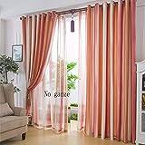 XPY-Curtain Gardine Vorhänge Gardinen Doppelseitige Moderne Gestreifte Dicke Tuch Wohnzimmer Schlafzimmer fertig, 150, E