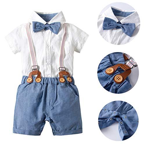 Mbby tuta neonato ragazzo, 3-24 mesi completo ragazzi bambino 2 pezzi tute pantaloncini con cinturino +camicia con papillon tinta unita set cotone (6-12mesi, blu)