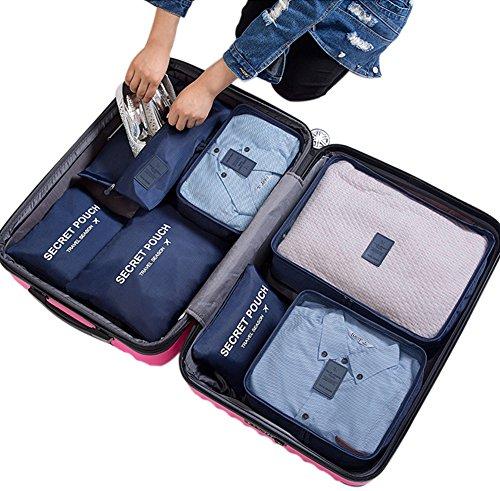 Belsmi Reise Kleidertaschen Set 7-teilig Reisetasche in Koffer Reisegepäck Organizer Kompression Taschen Kofferorganizer Mit Schuhbeutel (Dunkelblau) (Reisetasche-gepäck-set)
