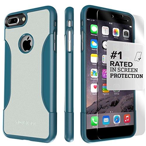 Funda iPhone 7 Plus, (Azul, Gris) Kit Funda Protectora SaharaCase con [Protector de Pantalla de Vidrio Templado ZeroDamage] Fuerte Protección Antideslizante [Cubierta Anti-golpes] Fino y Elegante