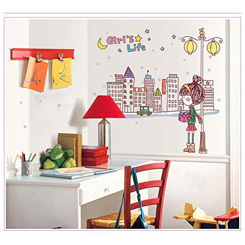 LQRRHY Stadt-Mädchen-Wohnzimmer die Haushaltsverzierung der Schlafzimmer-Wand-Aufkleber auf der Wand