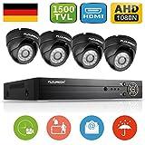 FLOUREON 8CH Überwachungskamera Set AHD 1080N CCTV DVR Videorecorder HDMI + 4X 1500TVL Dome Überwachungskamera Outdoor Sicherheitskamera Wasserdichte Außenkamera Bewegungsmelder