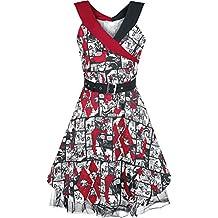 Harley Quinn Comicstrip Vestido blanco/Negro/Rojo