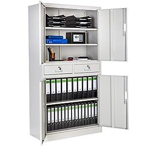 TecTake Aktenschrank mit 2 Schrankabteilen und 2 Schubladen abschließbar (HxBxT) 180x90x40 cm