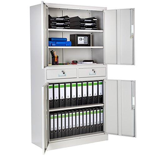 Tectake armadio armadietto in metallo con 2 cassetti e 2 vani richiudibili 180x90x40 cm grigio