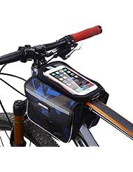 MPTECK @ Bleu Sac porte-bagages de Vélo Sac de guide bicyclette Sacoche de cadre vélo pour smartphone Résister à l'eau Téléphone sous 6.2 pouce Téléphone de Poche amovible pour iPhone Samsung HTC LG Sony Huawei