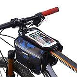 """MPTECK @ Borse da Telaio da Bicicletta Custodia Borsa da Sella Manubrio Borsa con 2 Borsa Laterali per Bicicletta Ciclismo MTB BMX Cellulare Borse per Fino a 6.2"""" Mobile iPhone Samsung HTC LG Sony"""