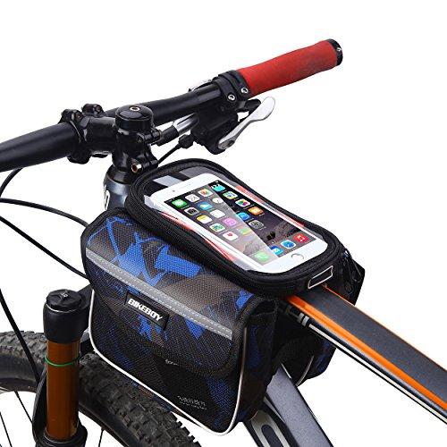 MPTECK @ Bolsa bicicleta frontal Bolsa Bicicleta Manillar Montaña Ciclismo bolsa móvil con 2-lados alforja delantera bolsa doble para Montaña Road bicicleta hasta 6.2 pulgadas Teléfonos Móviles iPhone Samsung Sony HTC LG Huawei