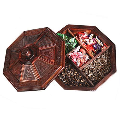 Geschnitzten Tisch (Zhanghongshop Obstteller Massivholz Mit Deckel Geschnitzte Kreative Obstteller Chinesische Home Wohnzimmer Tisch Couchtisch Obstteller (Color : 34 * 34 * 19.5CM))
