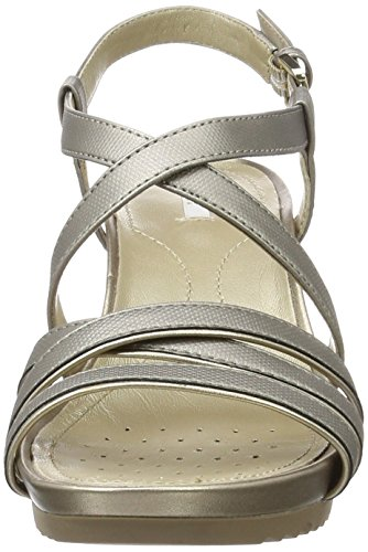 Geox D New Rorie B, Sandales Bout Ouvert Femme Argent (Dk Silver/Champagnec1Ab5)