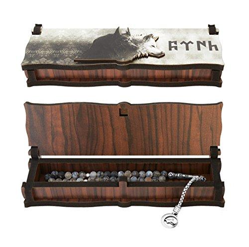 Gök-Türk Box Schatulle aus Holz Handgemacht & Tesbih Gebetskette '2 Wölfe' Bozkurt Alttürkisch, ColorName:ohne Gravur
