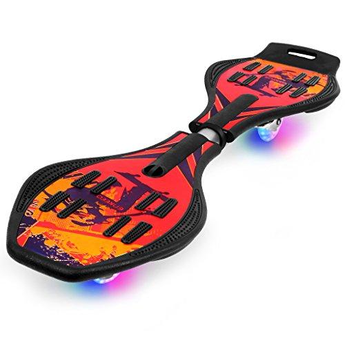 Enkeeo Waveboard mit Tasche und LED Rollen, Skateboard, Streetsurfing-Board (Rot)
