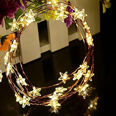 Spritech (TM) Beautiful pentagrama cortina de luz LED impermeable para al aire libre jardín valla patio fiesta de Navidad boda Festival Decoración, blanco