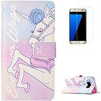 KaseHom Samsung Galaxy S8 + [Protector de Pantalla] Dibujos Animados Estuche Billetera de Cuero Folio con Ranuras para Tarjetas y Cubierta Flip magnética Slim Anti-Arañazos Case - Unicornio