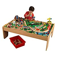 KidKraft 17850 Waterfall Mountain Wooden Train Track Set and Table for kids, Railway Activity Playset with Accessories Included (120 Pieces)