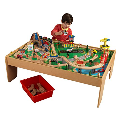 KidKraft 17850 Ensemble table circuit de train en bois Waterfall Mountain, jouet enfant incluant 120 pièces