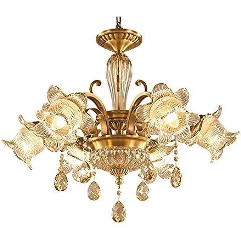 YUENLONG Lampadari continentale in tutto il rame lampadari di cristallo classici living room lampada lampadari luminosi ,3 camere ristorante la testa ,67*51