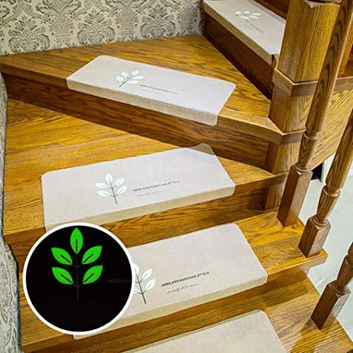 Wokee Textilfaser - 5pcs Schritt-grundlegender Rutschfester Gummibelag Rutschfester Teppich-Treppengreifer-Sat Stufenmatten für Attraktive & sichere Treppenstufen Set (Beige) (Holz-hund-schritte)