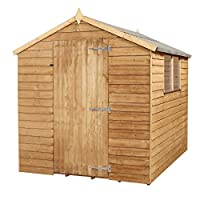 WALTONS EST. 1878 8x6 Wooden Garden Storage Shed, Overlap Construction Dip Treated with 10 Year Guarantee, With Windows, Single Door, Apex Roof, Roof Felt & Floor Included, (8 x 6 / 8Ft x 6Ft)
