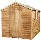 Mercia 8 x 6 Overlap Apex Wooden Garden Shed with Single Door and Felt