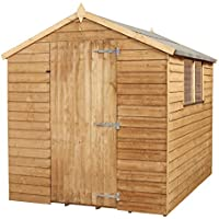 WALTONS EST. 1878 8x6 Wooden Garden Storage Shed, Overlap Construction Dip Treated with 10 Year Guarantee, With Windows, Single Door, Apex Roof, Roof Felt & Floor Included, (8 x 6 / 8Ft x 6Ft) 3-5 Day Delivery