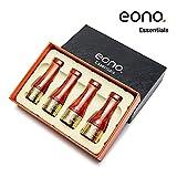 Eono Essentials Zigarren-Mundstück-Set Kupfer- und Kunstharz-Zigarrenpfeifendüse 4 Größen Golden mit Mahagoni