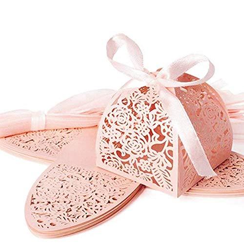 Fliyeong - scatole per cioccolatini laser, confezione regalo per compleanno, san valentino, decorazione natalizia (65 x 65 x 70 mm), 10 pezzi, colore: rosa
