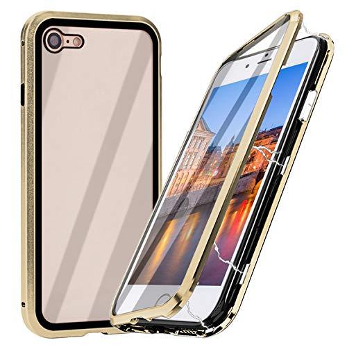 iPhone 8 Magnetische Hülle mit Panzerglas, Qianyou iPhone 7/8 Magnet Glas Handyhülle mit Metallrahmen Durchsichtig Rückseite Vorne und Hinten Full Body Schutzhülle Bumper Case 4,7''-Gold