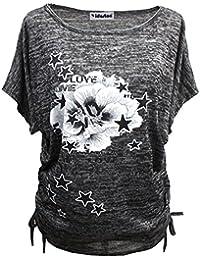 Yidarton Sommer Frauen Bluse weg von der Schulter Short Sleeve Feder Druck Muster Jumper Tops Pullover T-Shirt