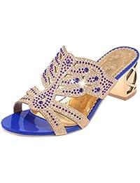 QinMM Chanclas Bohemia Tacón Alto de Mujer, Verano Rhinestone Zapatos de Playa Sandalias Baño
