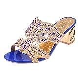 QinMM Chanclas Bohemia Tacón Alto de Mujer, Verano Rhinestone Zapatos de Playa Sandalias Baño (37, Azul)