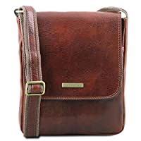 Tuscany Leather John Leather Crossbody Bag for Men with Front Zip Brown