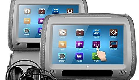 Veyron HR-9 Lot de 2appuie-tête DVD/multimédia en cuir avec écran tactile et 2casques infrarouges Gris 23cm