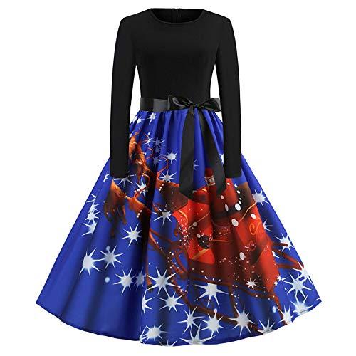 Damen Kleider Weihnachtskleid,Dasongff Elegant Christmas Dress,Frauen RundhalsVintage 1950erAbendkleider Ballkleid Dots Pinup Fließendes Swing Kleid