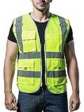 Mehrfunktional Hohe Sichtbarkeit Warnwesten Pannenhilfe Multi-Pocket Reflektierende Westen Sicherheitsweste - Fluoreszenz Grün Größe XL