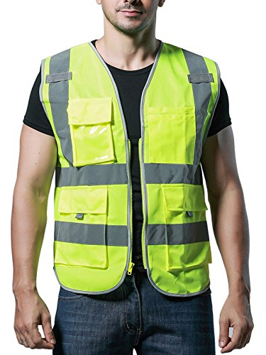 Mehrfunktional Hohe Sichtbarkeit Warnwesten Pannenhilfe Multi-Pocket Reflektierende Westen Sicherheitsweste - Fluoreszenz Grün Größe XL (Pocket Multi Jean Cargo)