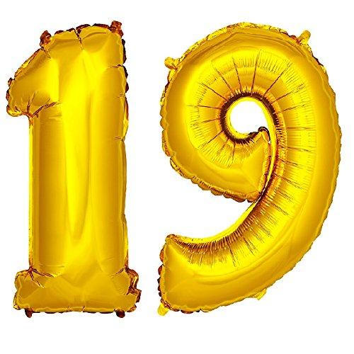 DekoRex® Folienballon Zahlenballon Luftballon Geburtstag Deko 40cm Gold Zahl: 19