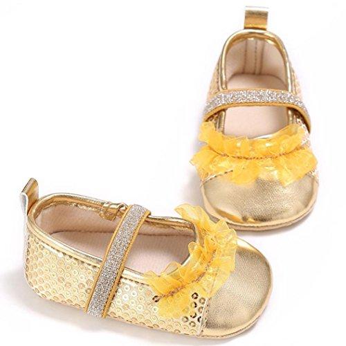 Babyschuhe Longra Baby Kleinkind Kinder Mädchen weichen Sohle Krippe Kleinkind Neugeborenes Schuhe Lauflernschuhe(0 ~ 18 Monate) Gold