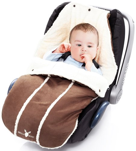 Wallaboo Fußsack, Universal für Babyschale, Autositz, z.B. für Maxi-Cosi, Römer, für Kinderwagen, Buggy oder Babybett, Farbe: Braun -