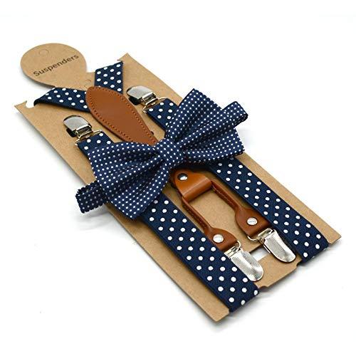 sPuPart Hosenträger mit Clip Polka Dot Muster Strapse mit Fliege Set 4-Clip verstellbar elastischer Hosenträger Marineblau - Polka Dot Hosenträger