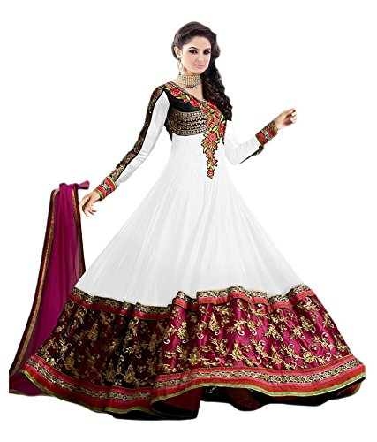 Rthub Womens Georgette Salwar Suit Sets (Sinux White _White _Free Size)