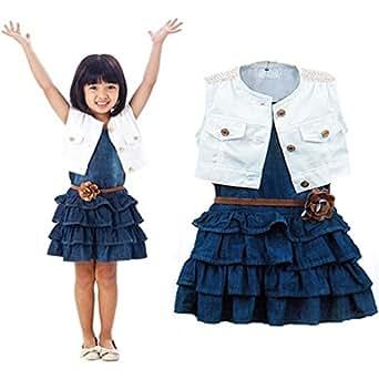 DAYAN Neonata Ragazze bambini principessa partito Tutu Dress fiore del estito jeans a pieghe e cappotto gilet color bianco blu size 120cm