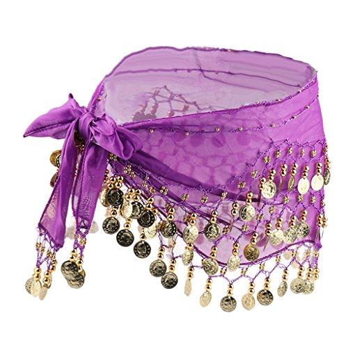 MagiDeal Dance Tanztuch Hüfttücher Tanztücher Münztuch Münzgürtel mit gold Münzen - Lila, wie beschrieben (Münzen Lila)