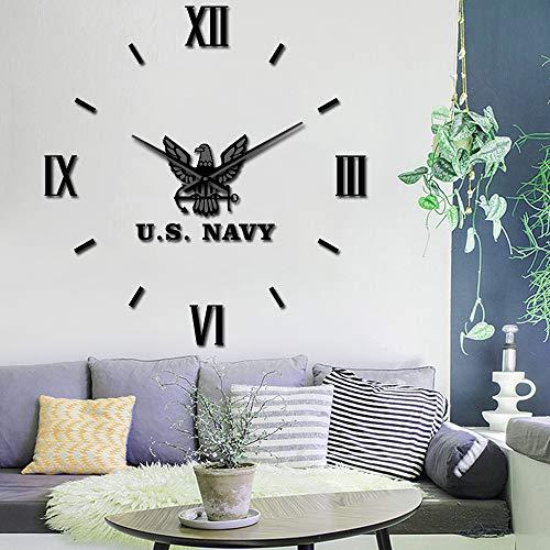 Guokee orologio da parete gigante della marina fai da te militare adesivi d'arte della parete militare numeri romani retrò blu senza cornice grande orologio da sospensione da 37 pollici