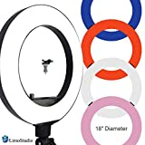LimoStudio 18 inch Fluorescent 5500K Dimmable Ring Light and Portrait Lightwith 4-Color Ring Light Diffuser Cloth (White