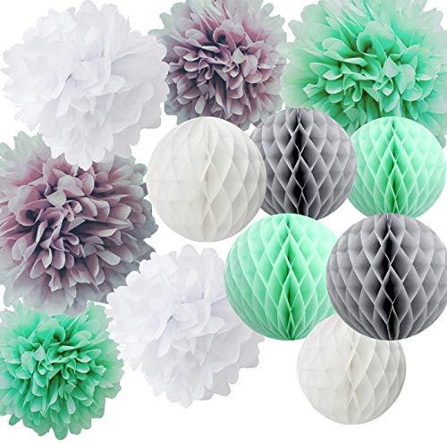 Baby Shower Dekorationen Mint White Grey Tissue Paper Honeycomb Balls Seidenpapier Pom Pom Papier Dekorationen für Bridal Shower Geburtstag Decor Wedding Decor ()